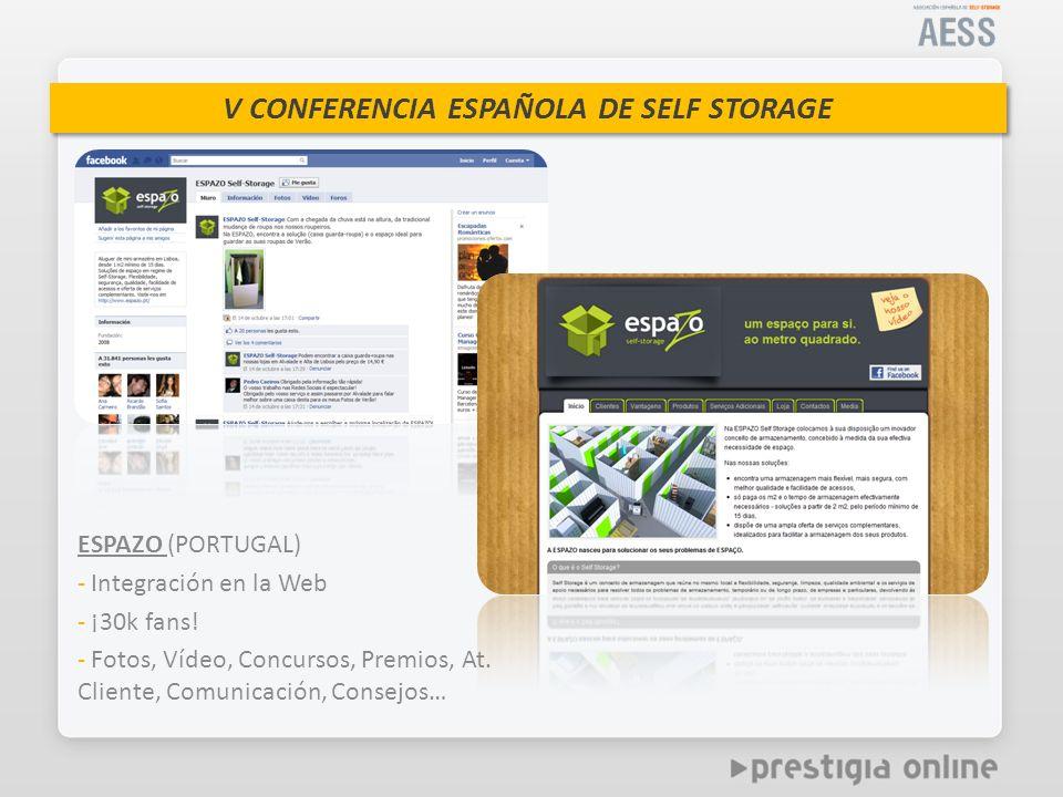V CONFERENCIA ESPAÑOLA DE SELF STORAGE ESPAZO (PORTUGAL) - Integración en la Web - ¡30k fans.