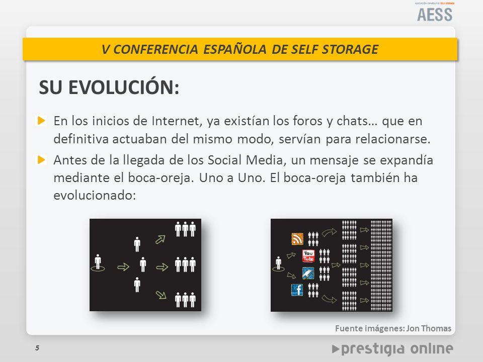 V CONFERENCIA ESPAÑOLA DE SELF STORAGE 5 SU EVOLUCIÓN: En los inicios de Internet, ya existían los foros y chats… que en definitiva actuaban del mismo modo, servían para relacionarse.