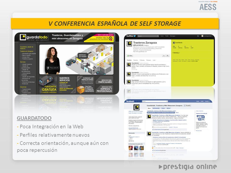V CONFERENCIA ESPAÑOLA DE SELF STORAGE GUARDATODO - Poca Integración en la Web - Perfiles relativamente nuevos - Correcta orientación, aunque aún con poca repercusión