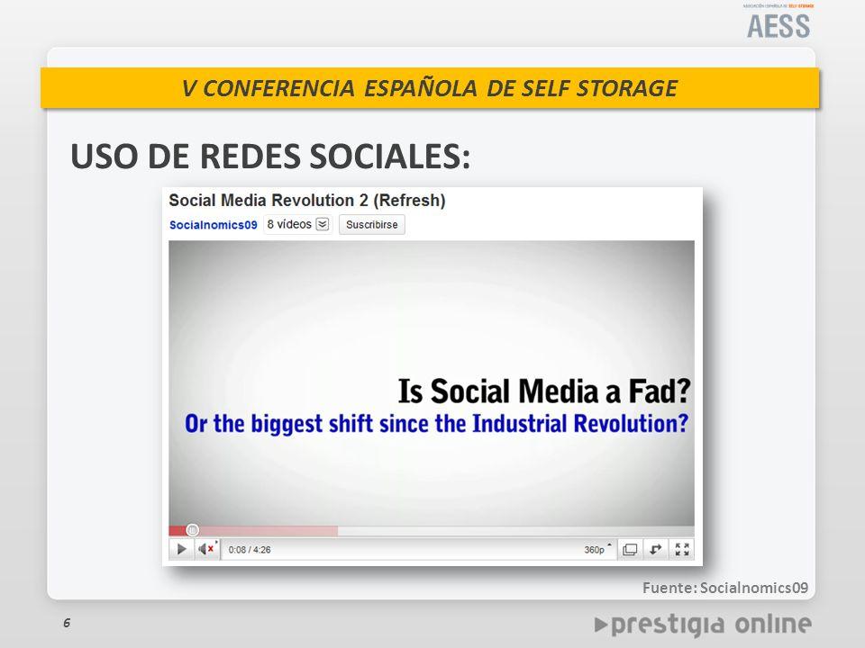 V CONFERENCIA ESPAÑOLA DE SELF STORAGE 6 USO DE REDES SOCIALES: Fuente: Socialnomics09
