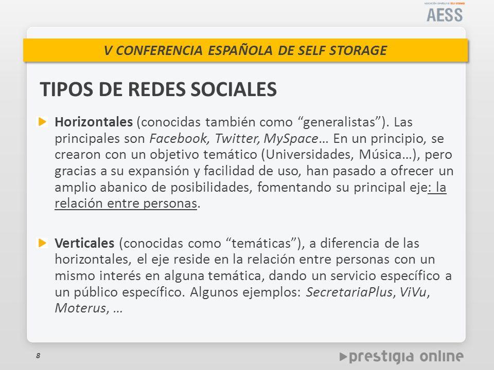 V CONFERENCIA ESPAÑOLA DE SELF STORAGE Horizontales (conocidas también como generalistas).