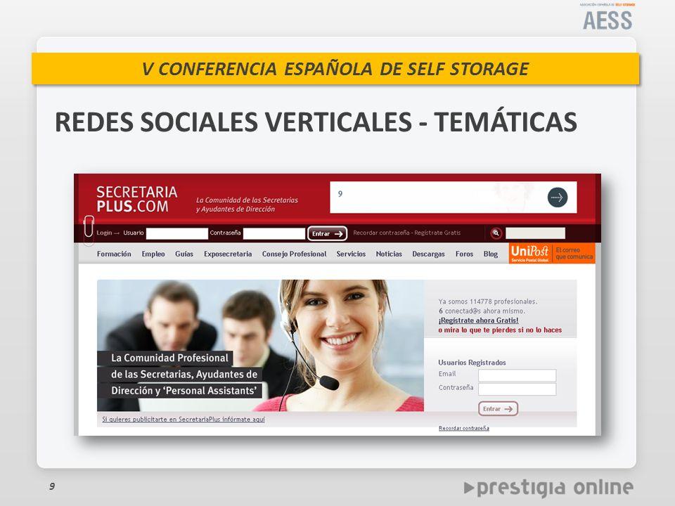 V CONFERENCIA ESPAÑOLA DE SELF STORAGE 9 REDES SOCIALES VERTICALES - TEMÁTICAS