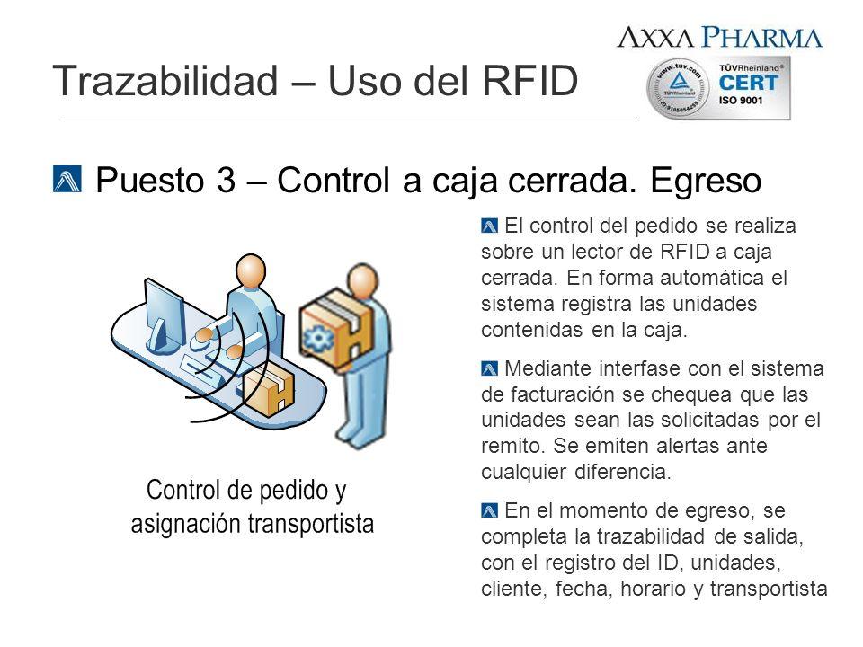 Puesto 3 – Control a caja cerrada. Egreso Trazabilidad – Uso del RFID El control del pedido se realiza sobre un lector de RFID a caja cerrada. En form