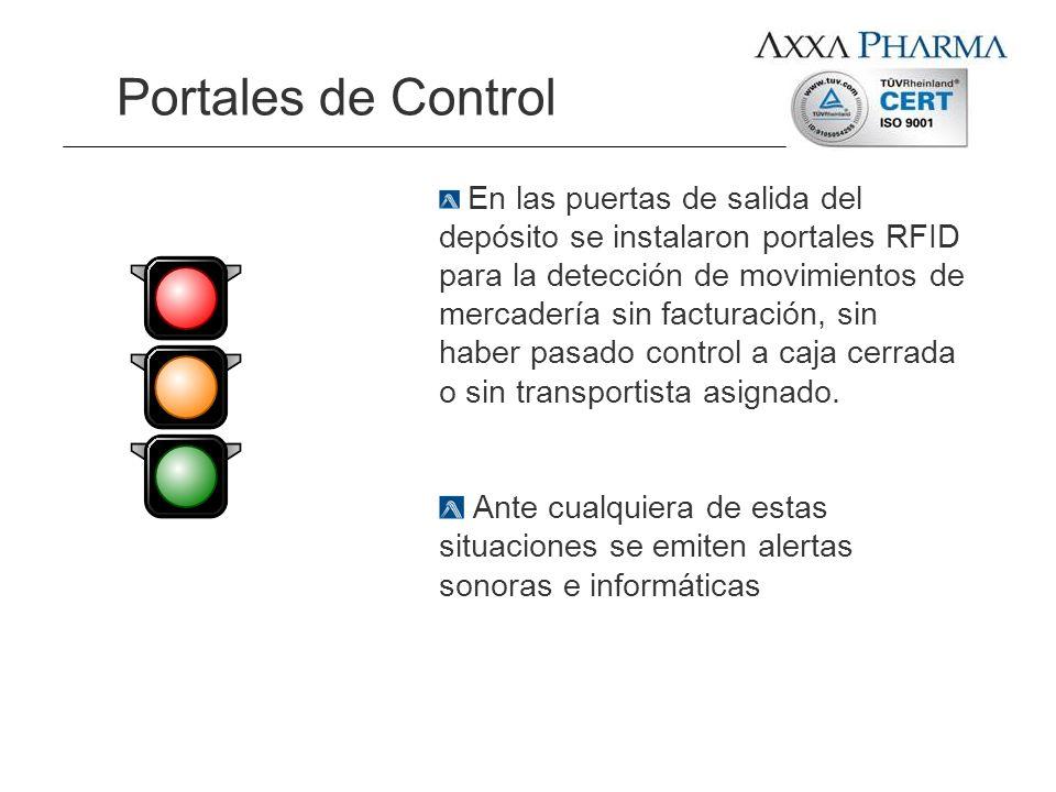 Portales de Control En las puertas de salida del depósito se instalaron portales RFID para la detección de movimientos de mercadería sin facturación,