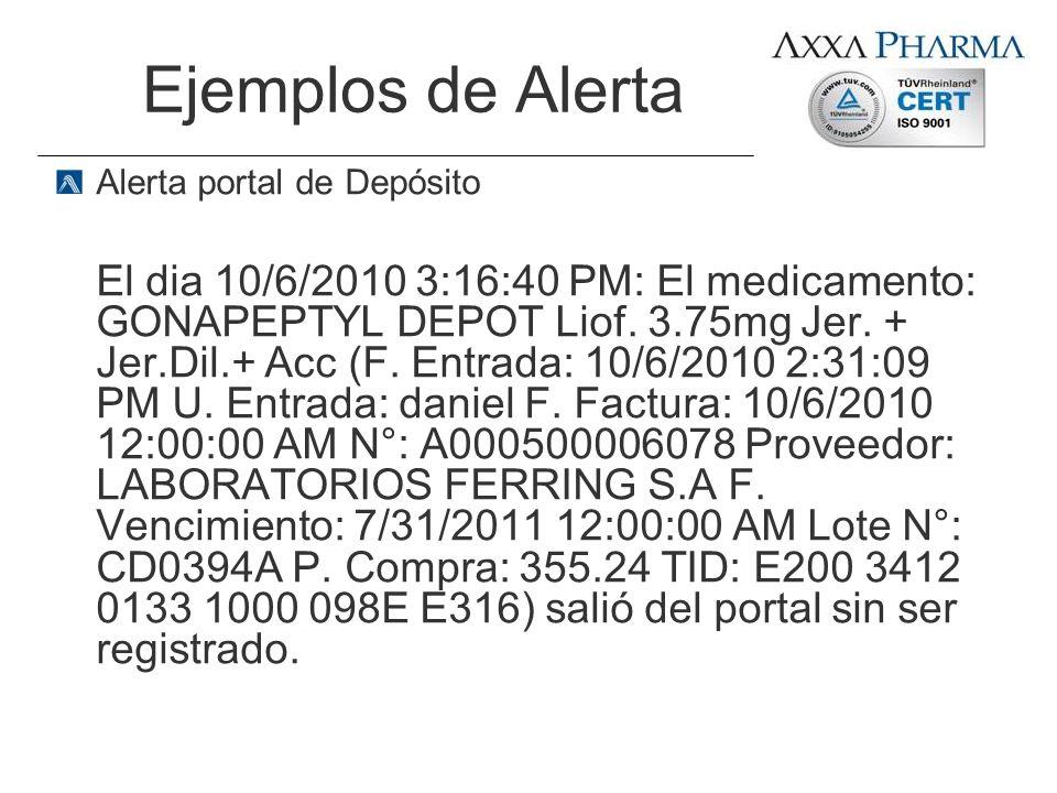 Ejemplos de Alerta Alerta portal de Depósito El dia 10/6/2010 3:16:40 PM: El medicamento: GONAPEPTYL DEPOT Liof. 3.75mg Jer. + Jer.Dil.+ Acc (F. Entra