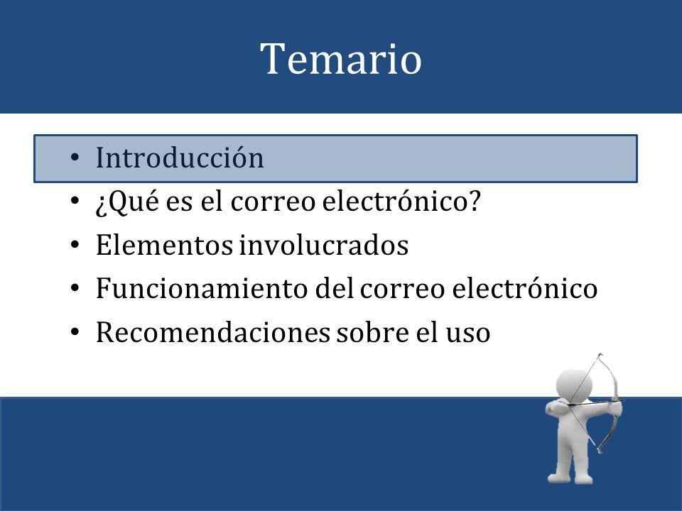 Temario Introducción ¿Qué es el correo electrónico? Elementos involucrados Funcionamiento del correo electrónico Recomendaciones sobre el uso