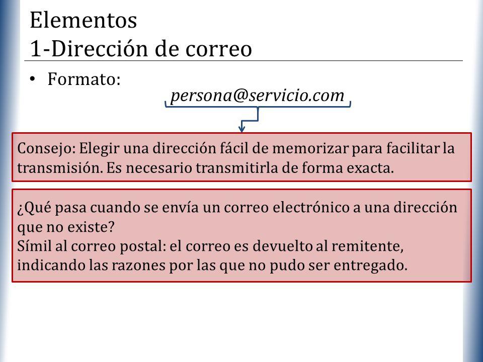 XP Formato: persona@servicio.com Elementos 1-Dirección de correo Consejo: Elegir una dirección fácil de memorizar para facilitar la transmisión. Es ne