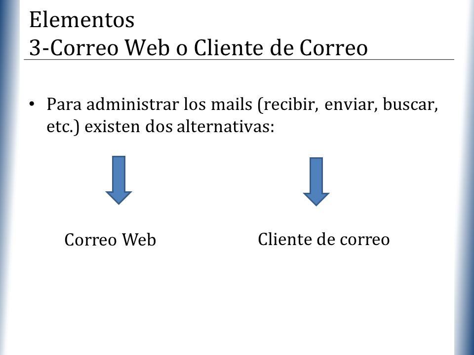 XP Para administrar los mails (recibir, enviar, buscar, etc.) existen dos alternativas: Elementos 3-Correo Web o Cliente de Correo Correo Web Cliente