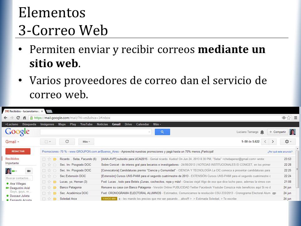 XP Permiten enviar y recibir correos mediante un sitio web. Varios proveedores de correo dan el servicio de correo web. Elementos 3-Correo Web
