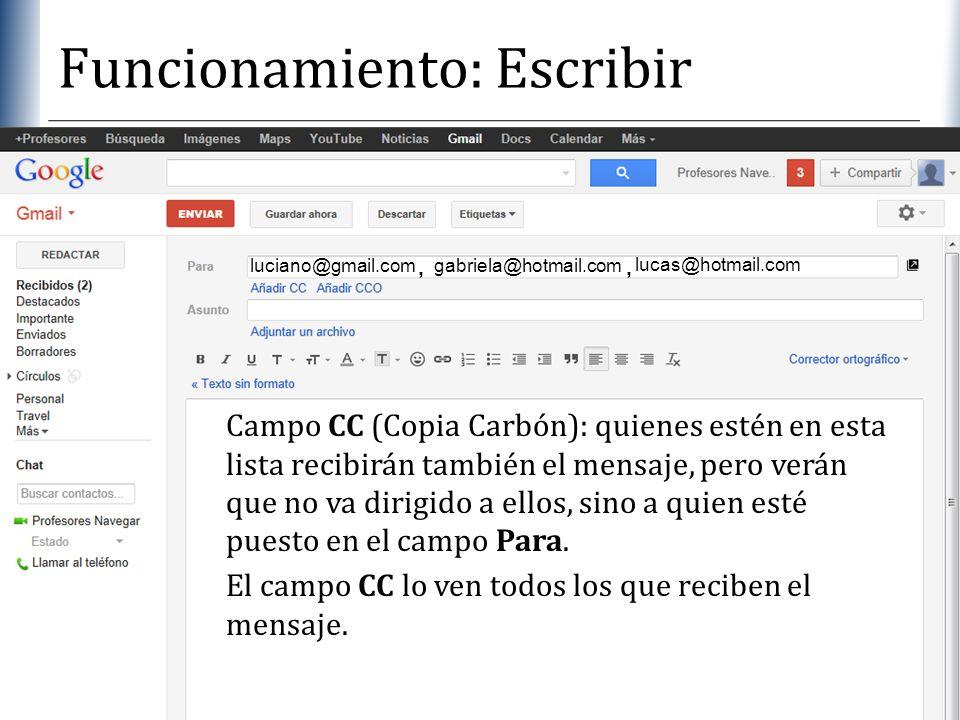 XP Funcionamiento: Escribir El campo CC lo ven todos los que reciben el mensaje. luciano@gmail.com gabriela@hotmail.com, lucas@hotmail.com, Campo CC (