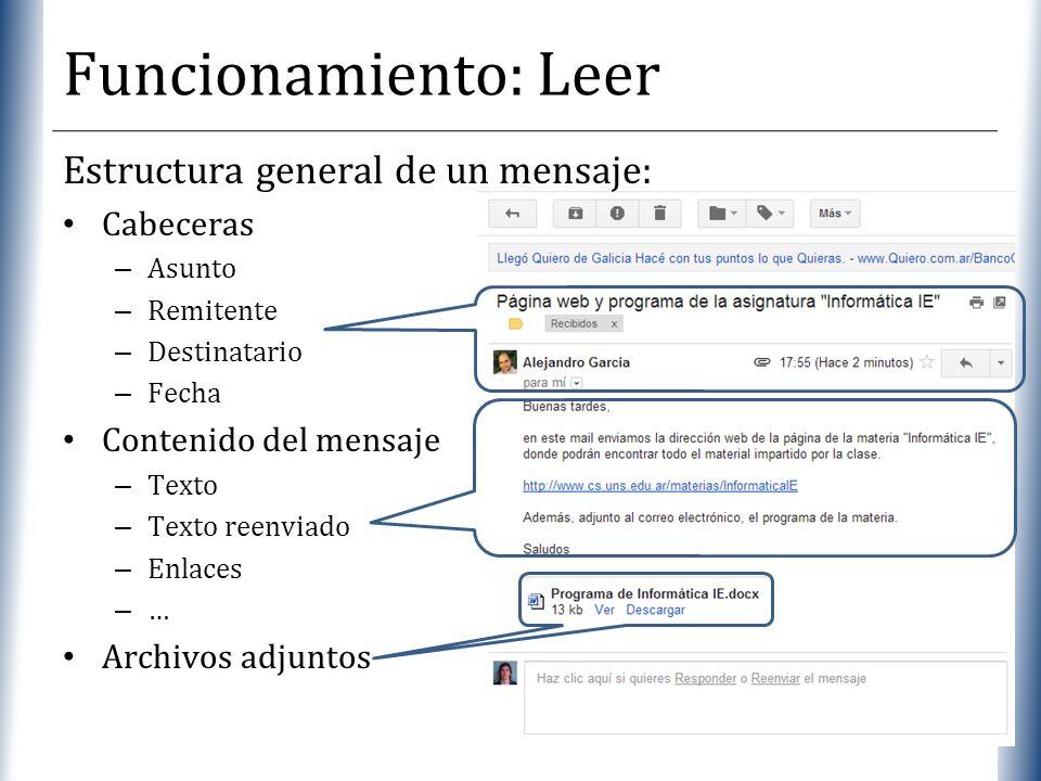 XP Estructura general de un mensaje: Cabeceras – Asunto – Remitente – Destinatario – Fecha Contenido del mensaje – Texto – Texto reenviado – Enlaces –