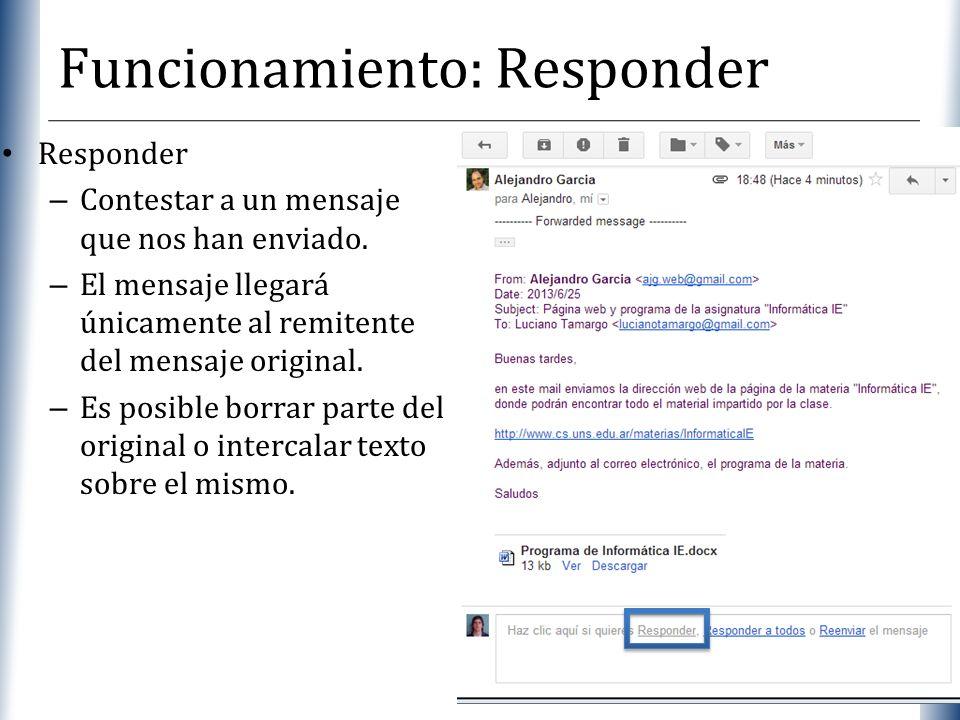 XP Funcionamiento: Responder Responder – Contestar a un mensaje que nos han enviado. – El mensaje llegará únicamente al remitente del mensaje original