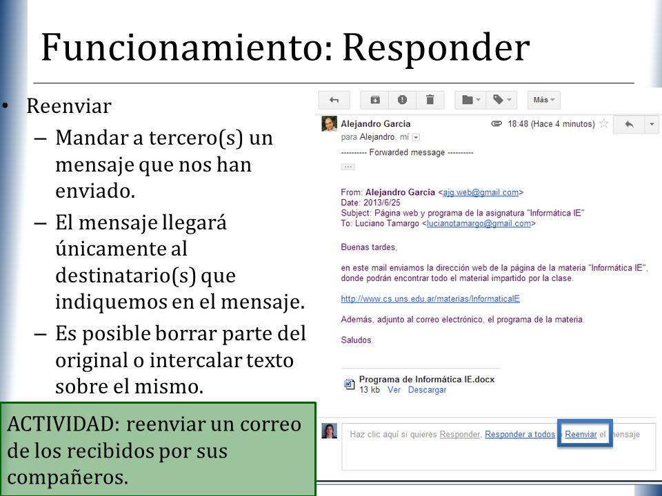XP Funcionamiento: Responder Reenviar – Mandar a tercero(s) un mensaje que nos han enviado. – El mensaje llegará únicamente al destinatario(s) que ind