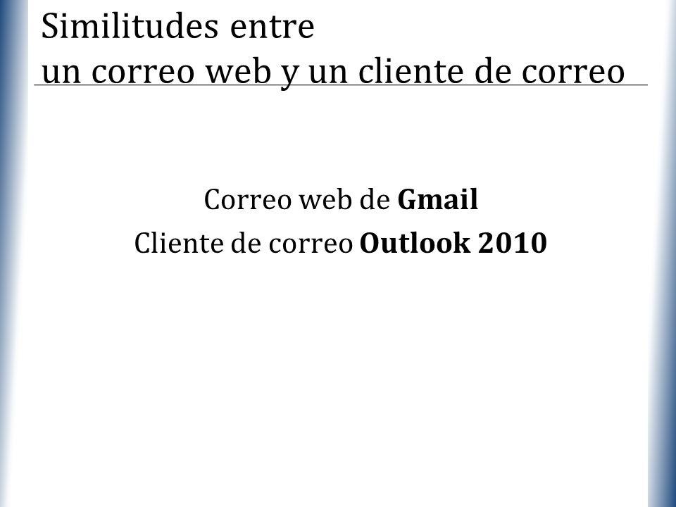 XP Similitudes entre un correo web y un cliente de correo Correo web de Gmail Cliente de correo Outlook 2010
