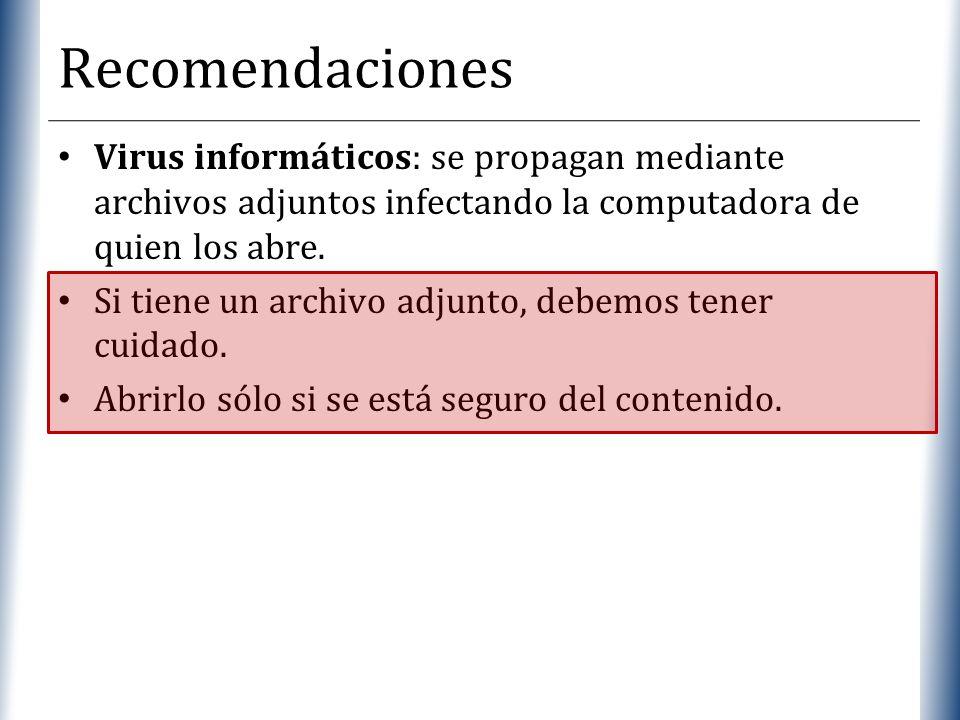 XP Recomendaciones Virus informáticos: se propagan mediante archivos adjuntos infectando la computadora de quien los abre. Si tiene un archivo adjunto