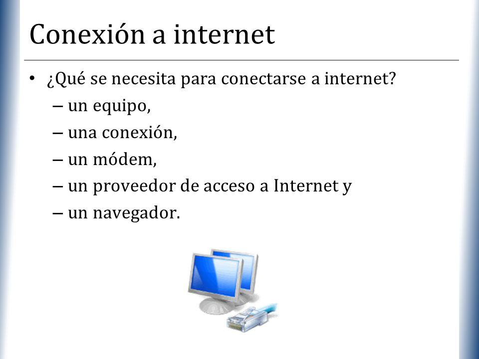 XP Conexión a internet ¿Qué se necesita para conectarse a internet? – un equipo, – una conexión, – un módem, – un proveedor de acceso a Internet y – u
