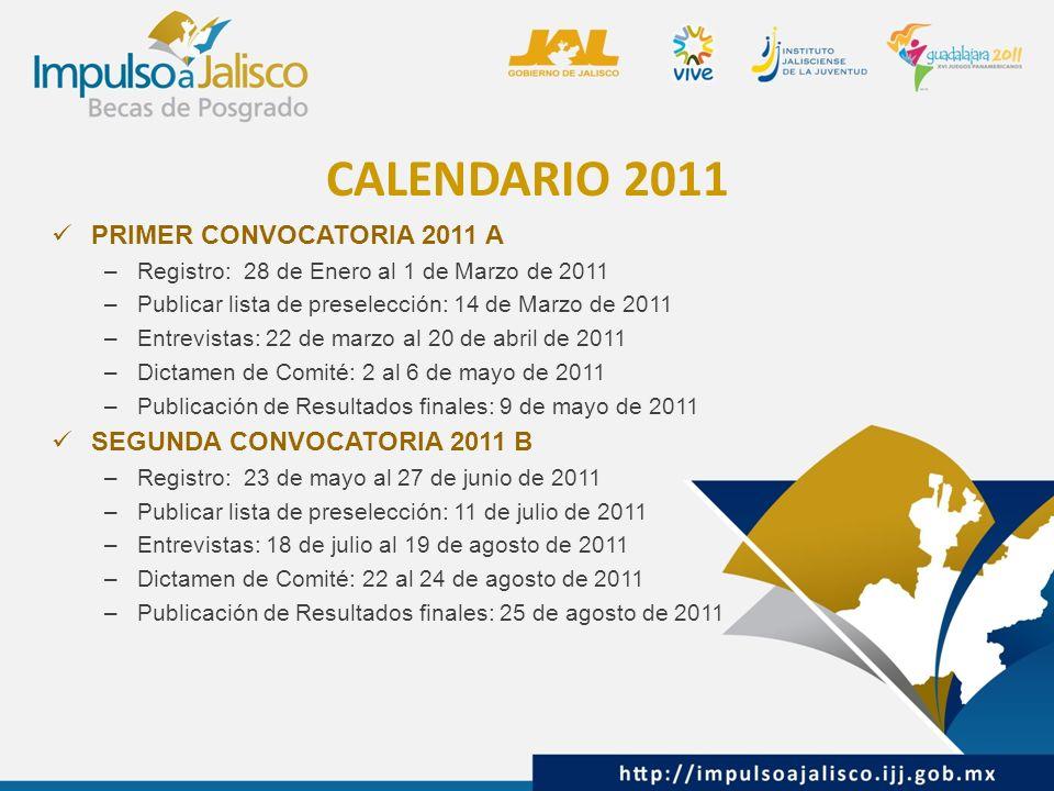 CALENDARIO 2011 PRIMER CONVOCATORIA 2011 A –Registro: 28 de Enero al 1 de Marzo de 2011 –Publicar lista de preselección: 14 de Marzo de 2011 –Entrevistas: 22 de marzo al 20 de abril de 2011 –Dictamen de Comité: 2 al 6 de mayo de 2011 –Publicación de Resultados finales: 9 de mayo de 2011 SEGUNDA CONVOCATORIA 2011 B –Registro: 23 de mayo al 27 de junio de 2011 –Publicar lista de preselección: 11 de julio de 2011 –Entrevistas: 18 de julio al 19 de agosto de 2011 –Dictamen de Comité: 22 al 24 de agosto de 2011 –Publicación de Resultados finales: 25 de agosto de 2011