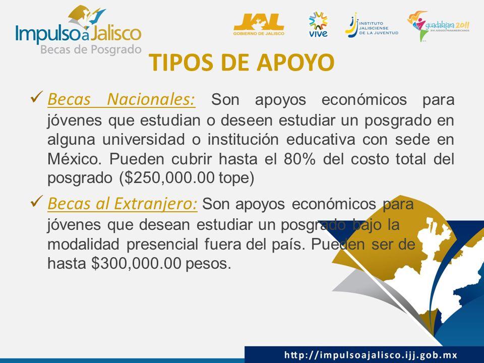 TIPOS DE APOYO Becas Nacionales: Son apoyos económicos para jóvenes que estudian o deseen estudiar un posgrado en alguna universidad o institución educativa con sede en México.