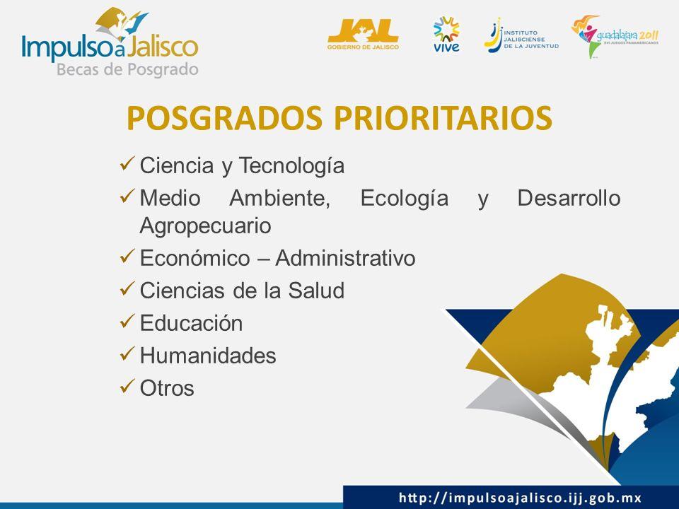 POSGRADOS PRIORITARIOS Ciencia y Tecnología Medio Ambiente, Ecología y Desarrollo Agropecuario Económico – Administrativo Ciencias de la Salud Educación Humanidades Otros