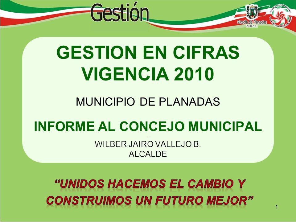 GESTION EN CIFRAS VIGENCIA 2010 MUNICIPIO DE PLANADAS INFORME AL CONCEJO MUNICIPAL.