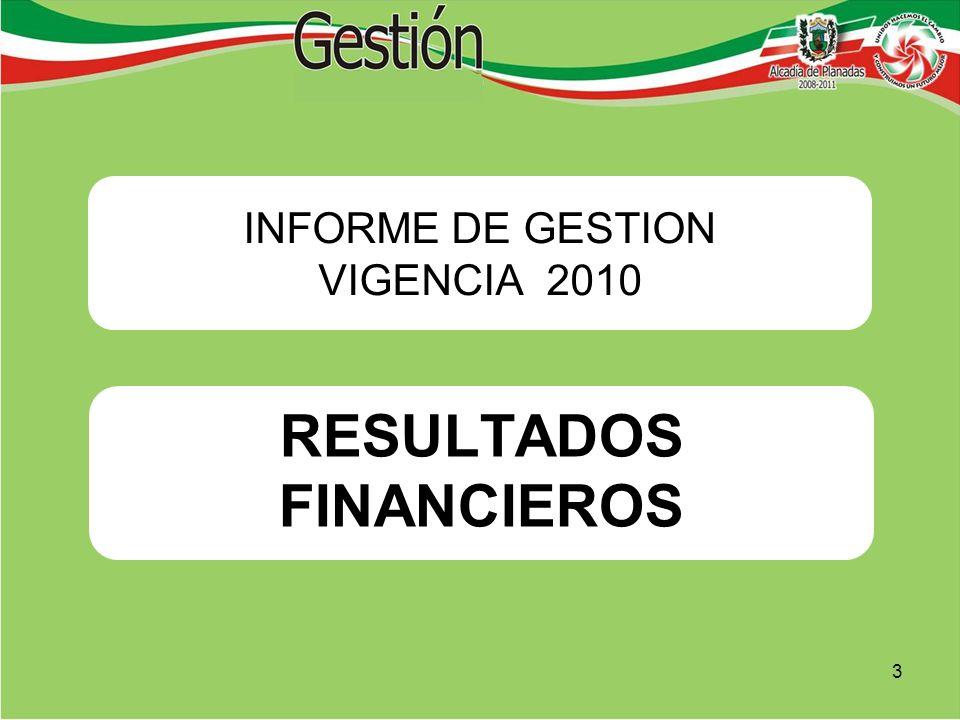 RESULTADOS FINANCIEROS INFORME DE GESTION VIGENCIA 2010 3