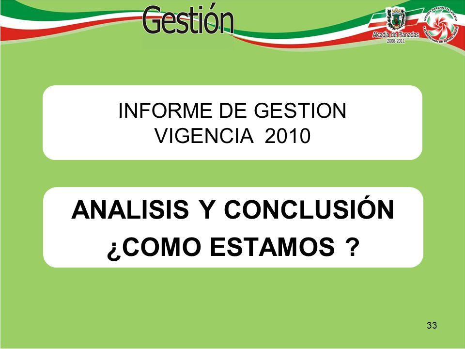ANALISIS Y CONCLUSIÓN ¿COMO ESTAMOS ? INFORME DE GESTION VIGENCIA 2010 33
