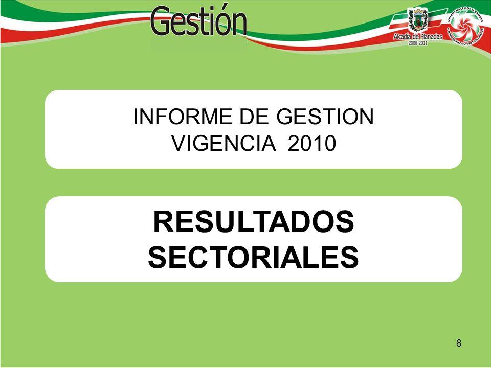 RESULTADOS SECTORIALES INFORME DE GESTION VIGENCIA 2010 8