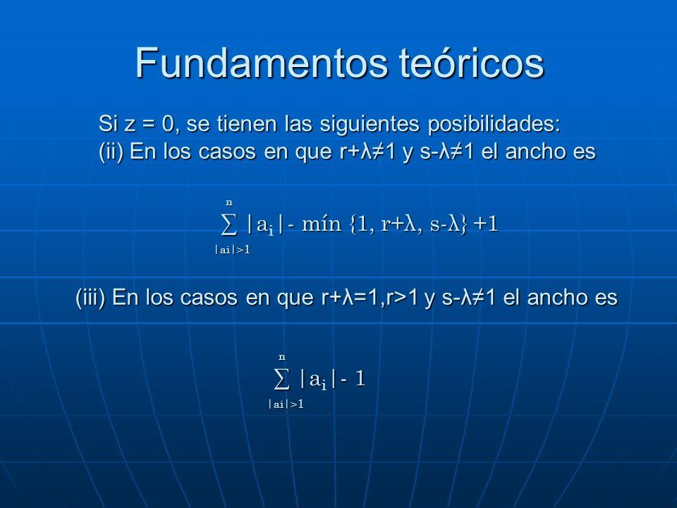 Si z = 0, se tienen las siguientes posibilidades: (ii) En los casos en que r+λ1 y s-λ1 el ancho es |a|- mín {1, r+λ, s-λ} +1 |a i |- mín {1, r+λ, s-λ}