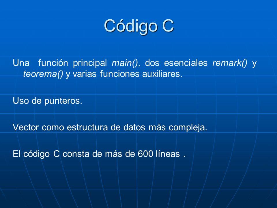 Código C Una función principal main(), dos esenciales remark() y teorema() y varias funciones auxiliares. Uso de punteros. Vector como estructura de d
