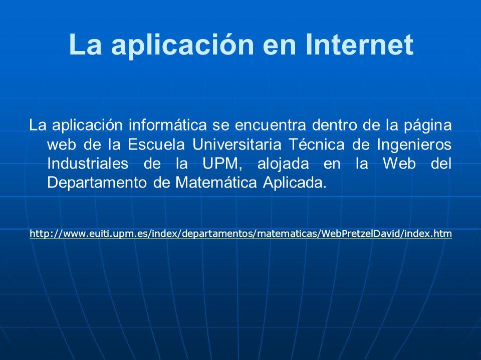 La aplicación en Internet La aplicación informática se encuentra dentro de la página web de la Escuela Universitaria Técnica de Ingenieros Industriale