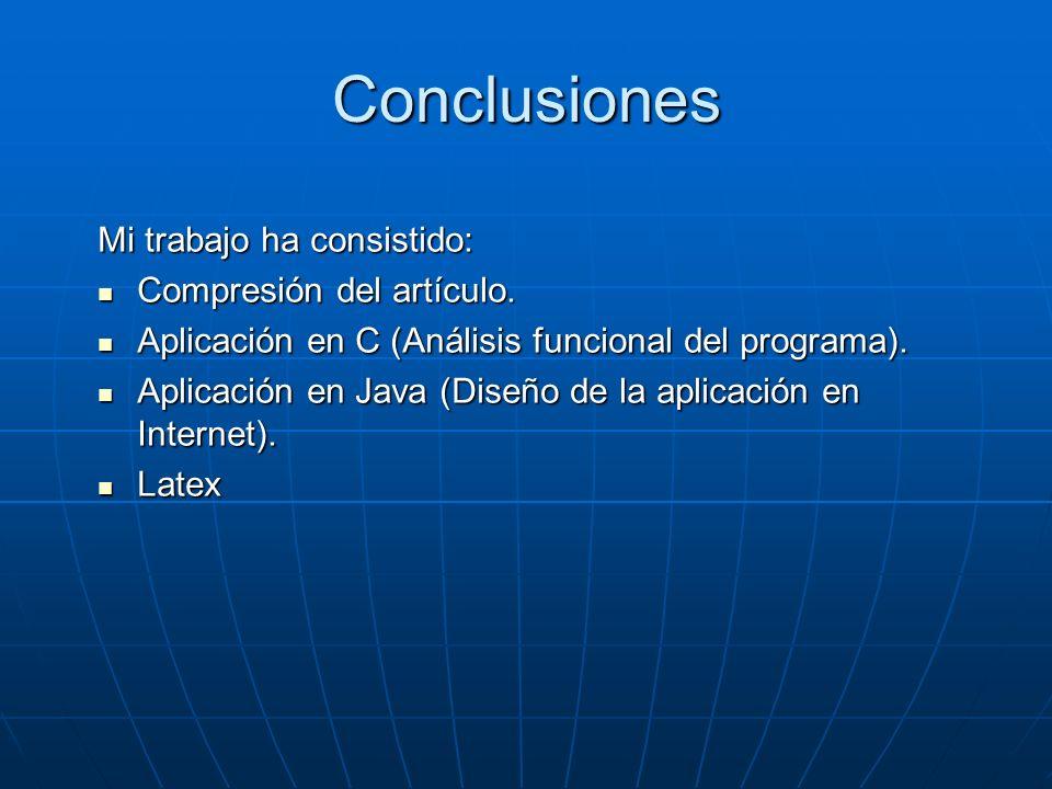 Conclusiones Mi trabajo ha consistido: Compresión del artículo. Compresión del artículo. Aplicación en C (Análisis funcional del programa). Aplicación