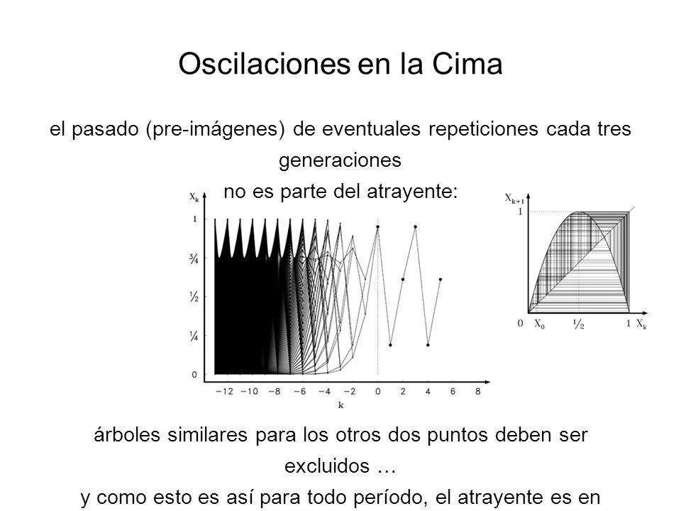 Oscilaciones en la Cima el pasado (pre-imágenes) de eventuales repeticiones cada tres generaciones no es parte del atrayente: árboles similares para los otros dos puntos deben ser excluidos … y como esto es así para todo período, el atrayente es en efecto polvo