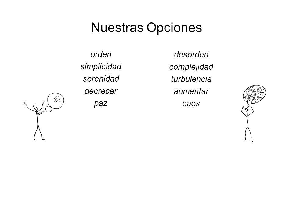 Nuestras Opciones orden simplicidad serenidad decrecer paz desorden complejidad turbulencia aumentar caos