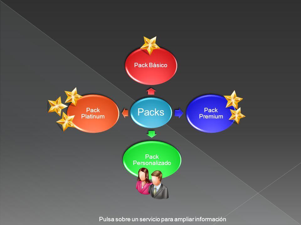 Packs Pack Básico Pack Premium Pack Personalizado Pack Platinum Pulsa sobre un servicio para ampliar información