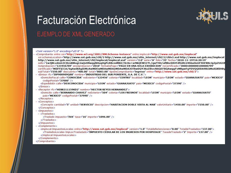Facturación Electrónica EJEMPLO DE XML GENERADO