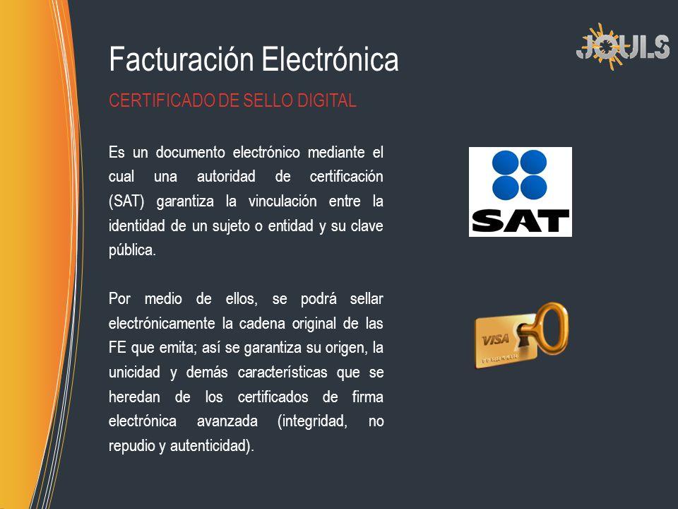 Facturación Electrónica Es un documento electrónico mediante el cual una autoridad de certificación (SAT) garantiza la vinculación entre la identidad