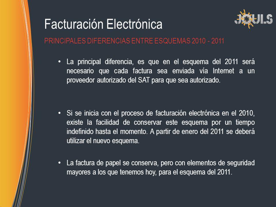 Facturación Electrónica La principal diferencia, es que en el esquema del 2011 será necesario que cada factura sea enviada vía Internet a un proveedor