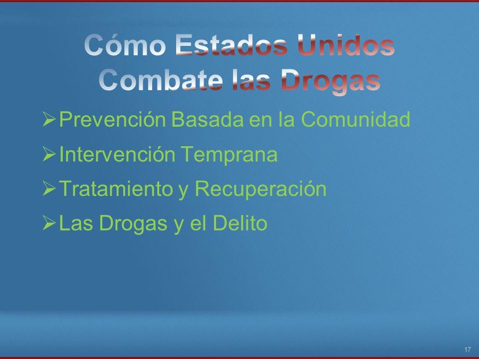 Prevención Basada en la Comunidad Intervención Temprana Tratamiento y Recuperación Las Drogas y el Delito 17