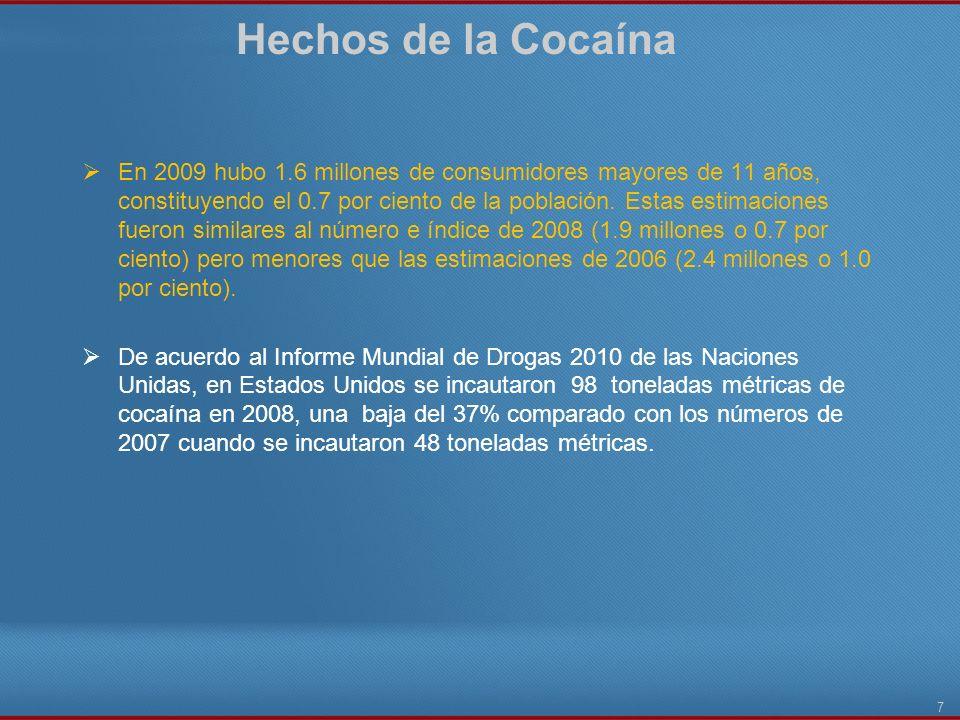 Hechos de la Cocaína 7 En 2009 hubo 1.6 millones de consumidores mayores de 11 años, constituyendo el 0.7 por ciento de la población. Estas estimacion