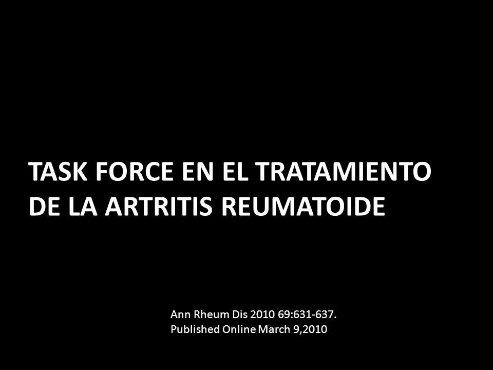 PRINCIPIOS FUNDAMENTALES (OVERARCHING PRINCIPLES) (A)El tratamiento de la AR debe estar basado en la decisión compartida entre el paciente y el reumatólogo (B)El principal objetivo del tratamiento es maximizar la calidad de vida y la salud a largo plazo, a través del control de los síntomas, la prevención del daño estructural, la normalización de la función y participación social (C)El objetivo mas importante para alcanzar las metas en abolir la inflamación.