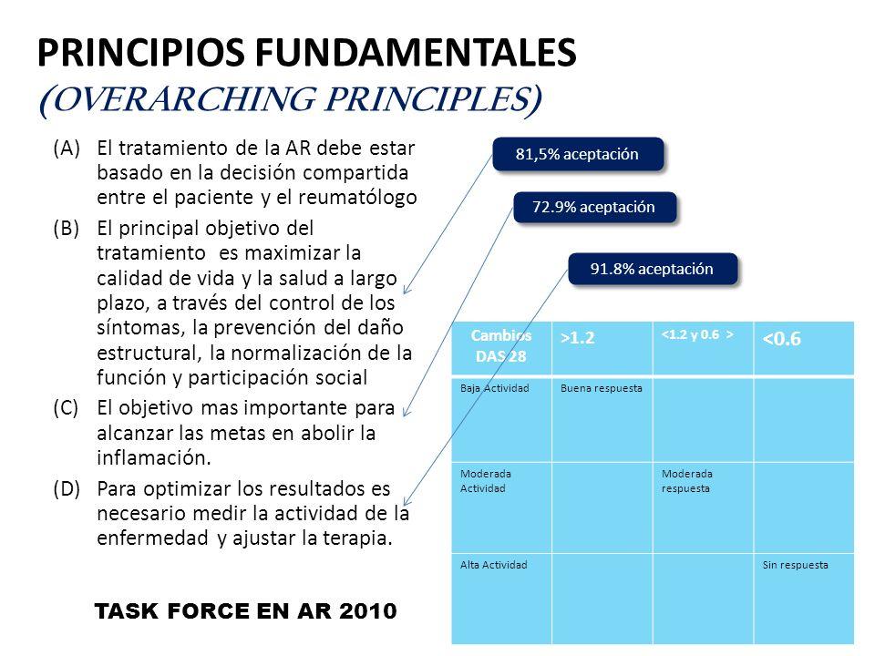 PRINCIPIOS FUNDAMENTALES (OVERARCHING PRINCIPLES) (A)El tratamiento de la AR debe estar basado en la decisión compartida entre el paciente y el reumat