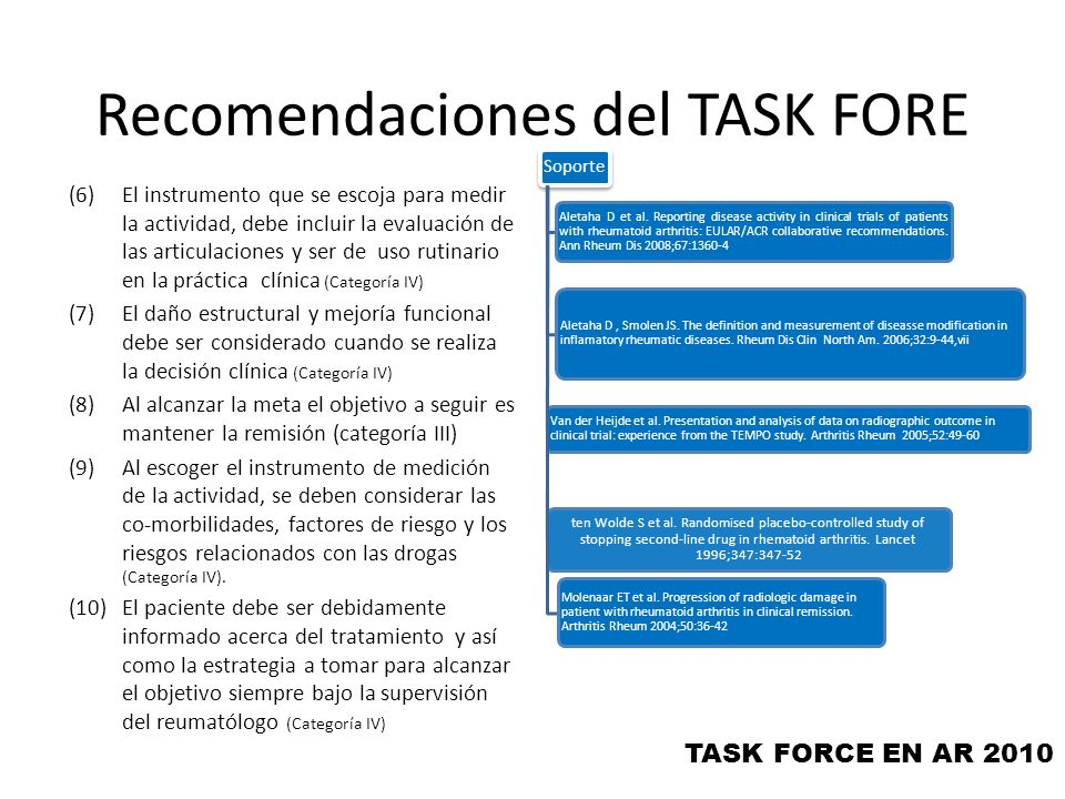 Recomendaciones del TASK FORE (6)El instrumento que se escoja para medir la actividad, debe incluir la evaluación de las articulaciones y ser de uso r