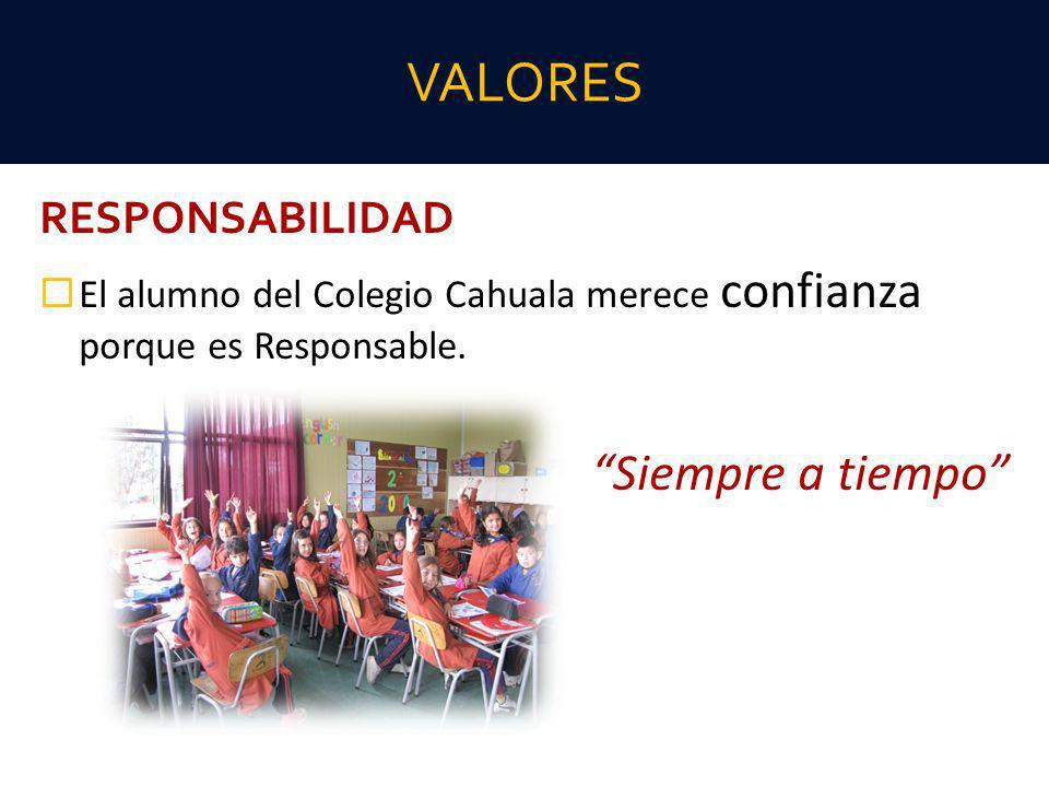 RESPONSABILIDAD El alumno del Colegio Cahuala merece confianza porque es Responsable. Siempre a tiempo VALORES