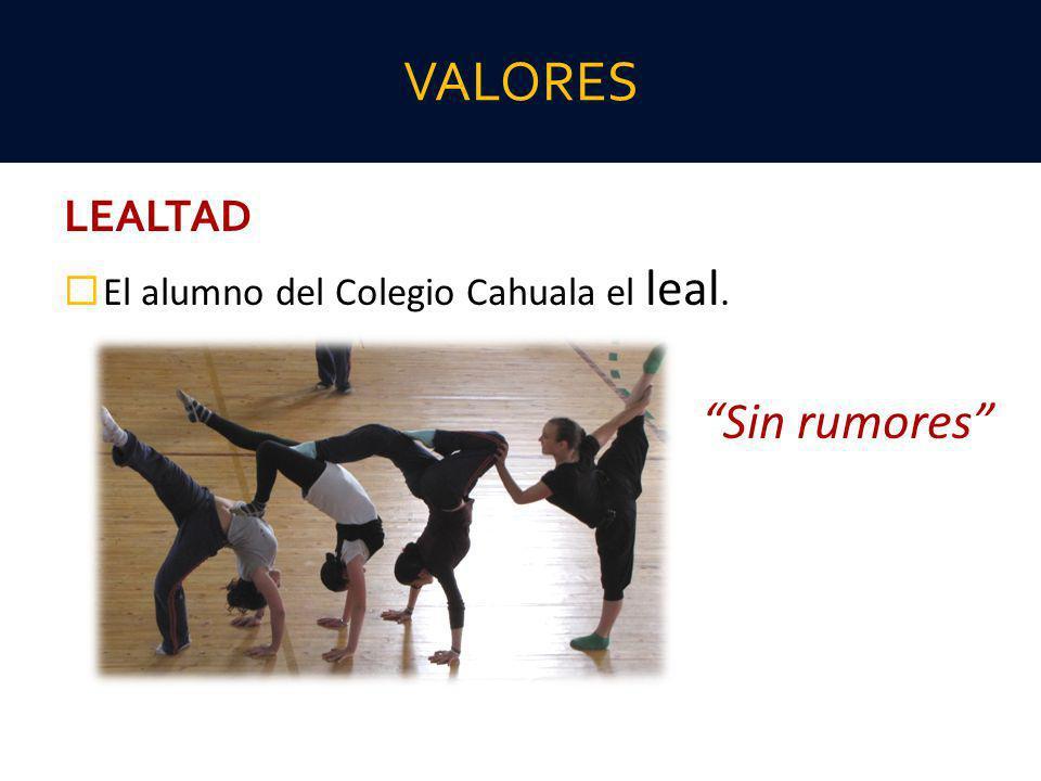 LEALTAD El alumno del Colegio Cahuala el leal. Sin rumores VALORES