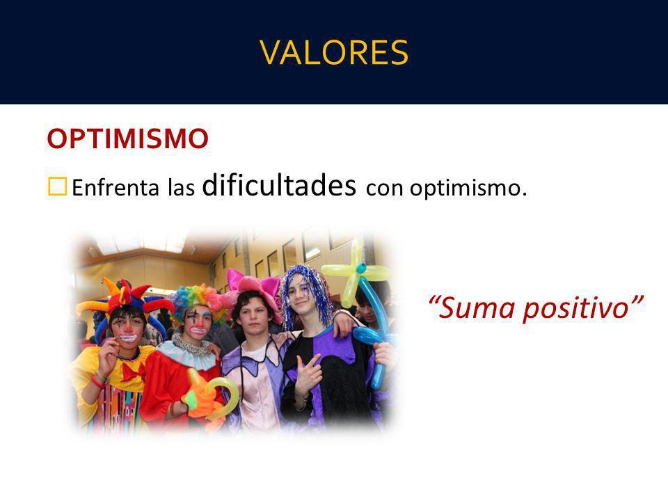 OPTIMISMO Enfrenta las dificultades con optimismo. Suma positivo VALORES