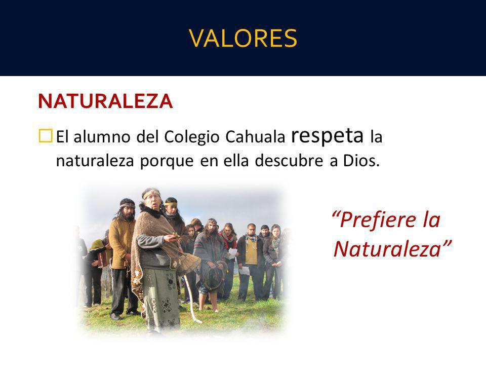 NATURALEZA El alumno del Colegio Cahuala respeta la naturaleza porque en ella descubre a Dios. Prefiere la Naturaleza VALORES