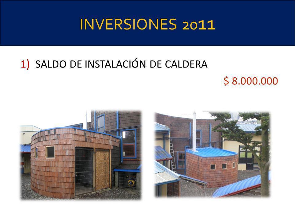 INVERSIONES 20 11 1 ) SALDO DE INSTALACIÓN DE CALDERA $ 8.000.000