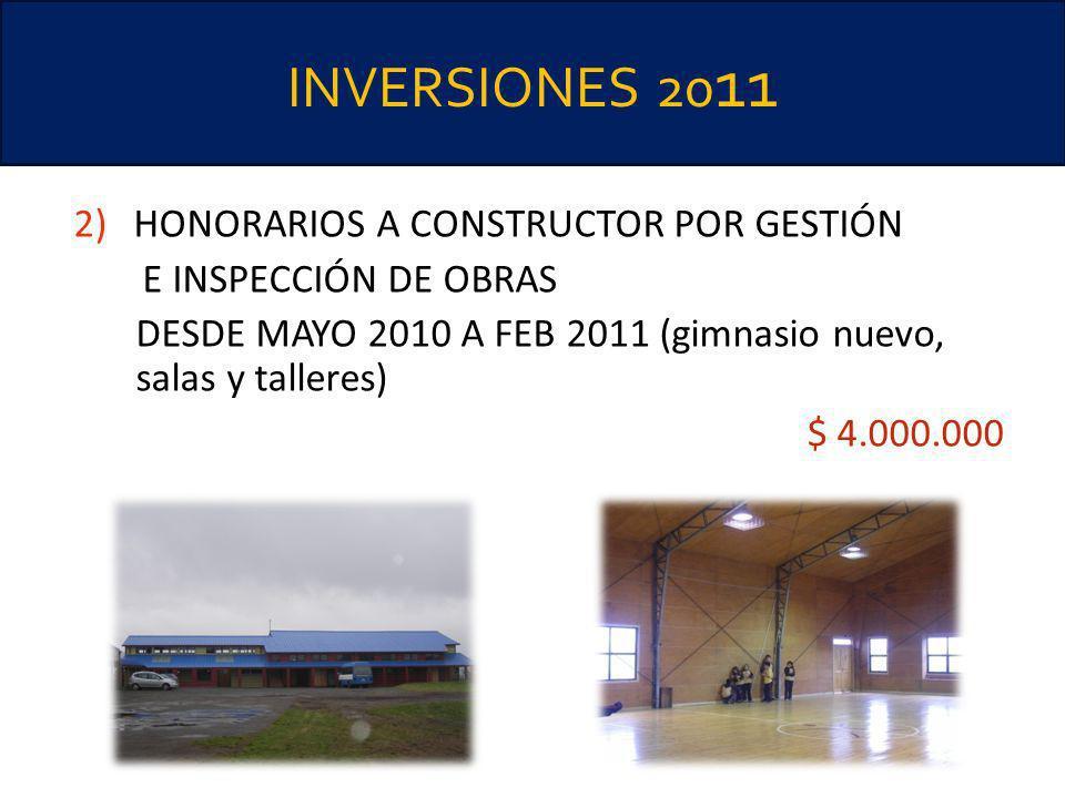 INVERSIONES 20 11 2)HONORARIOS A CONSTRUCTOR POR GESTIÓN E INSPECCIÓN DE OBRAS DESDE MAYO 2010 A FEB 2011 (gimnasio nuevo, salas y talleres) $ 4.000.0