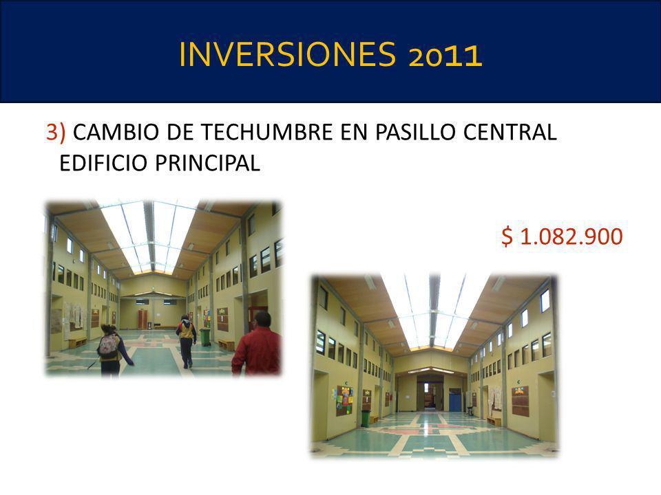 INVERSIONES 20 11 3) CAMBIO DE TECHUMBRE EN PASILLO CENTRAL EDIFICIO PRINCIPAL $ 1.082.900