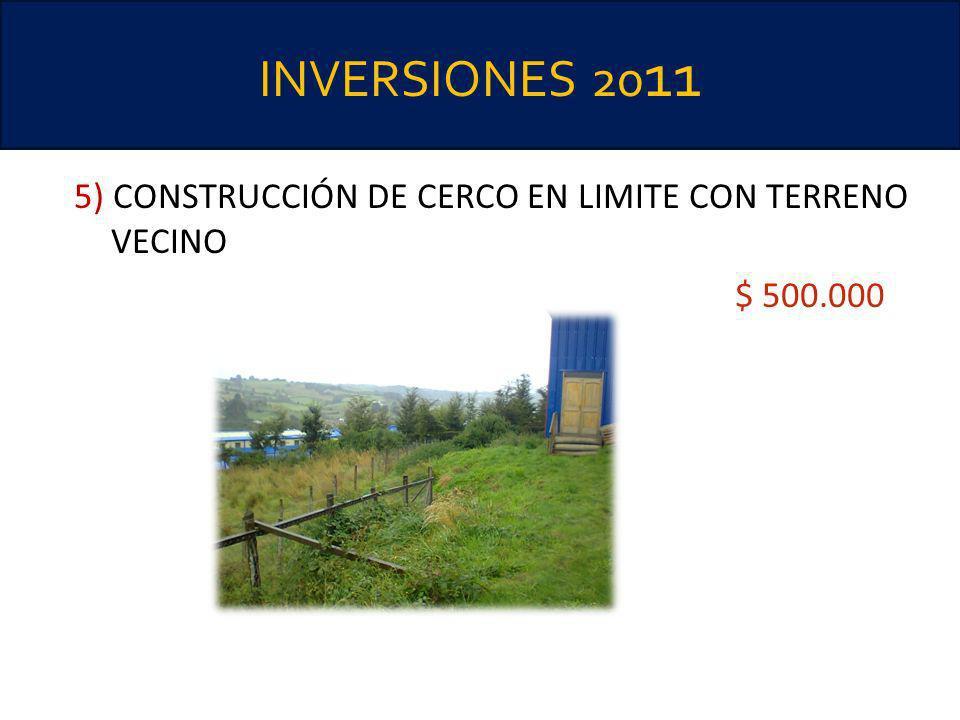 INVERSIONES 20 11 5) CONSTRUCCIÓN DE CERCO EN LIMITE CON TERRENO VECINO $ 500.000